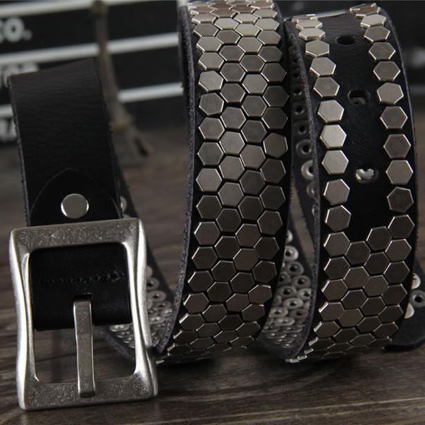 Metal cinturón de cuero genuino hombres cinturón vaquero Jeans cinturones  cintura ancha Correa masculina Rock estilo Ceinture Homme Correa punky  MBT0287 en ... f441ecb0d98d