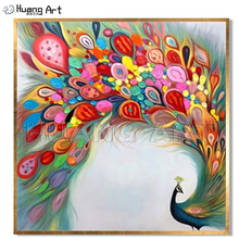 Hand-Painted Beautiful Noble Peacock Oil Painting on Canvas for Home Decor Knife Modern Colorful Animal Pink