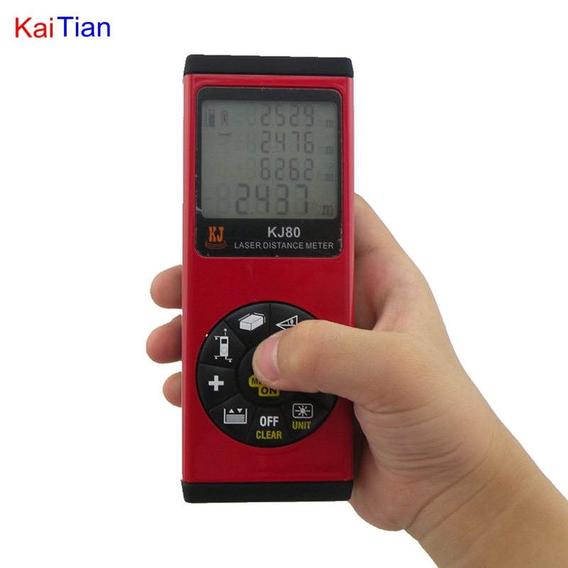 KaiTian 80M Laser Distance Meter with bubble level Rangefinder Range finder Tape measure wholesale OEM drill buddy cordless dust collector with laser level and bubble vial diy tool new