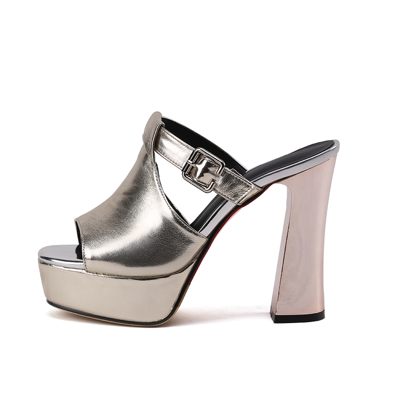 New Fashion Pu Casual High Bianco Slides Donna Super Piattaforma Oro da Donna Heels Wetkiss Peep Pantofole mulo Summer Nero 2018 Scarpe Toe 8YqwEgC
