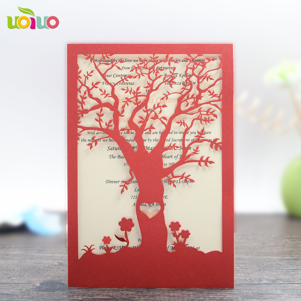 free shipping 50set inc24 Red/Gold Wedding Invitation Card Hollow ...