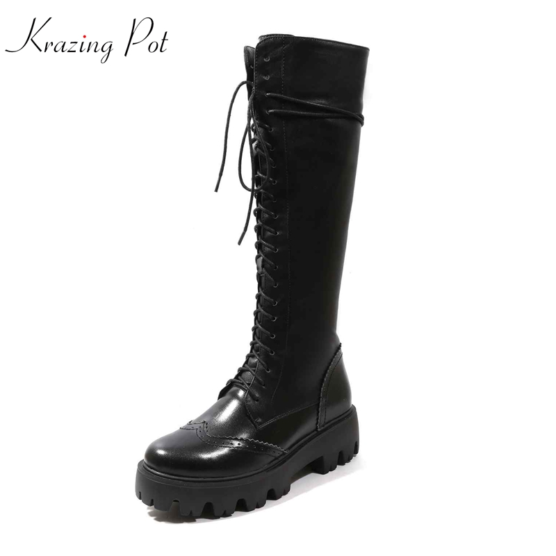 купить Krazing Pot cow leather thigh high boots round toe Western cowboy European hollow lace up gorgeous riding Equestrian boots L05 недорого