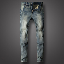 Italy Style Fashion Men Jeans Retro Blue Color Vintage Ripped Jeans For Men Paint Design Slim Fit Streetwear Hip Hop Jeans homme цена в Москве и Питере