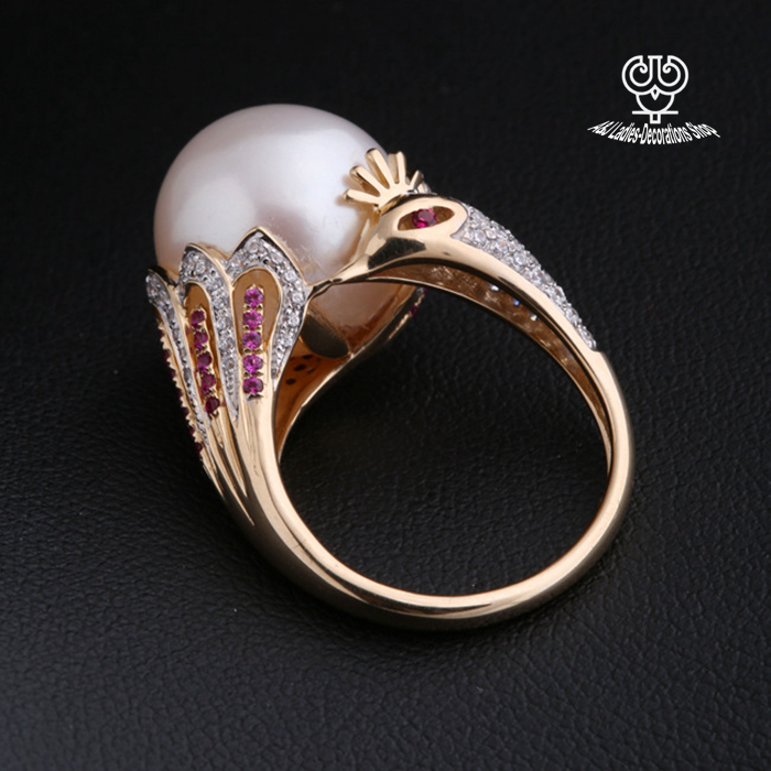 ring pearl real engagement black rings diamond halo white green gold tahitian