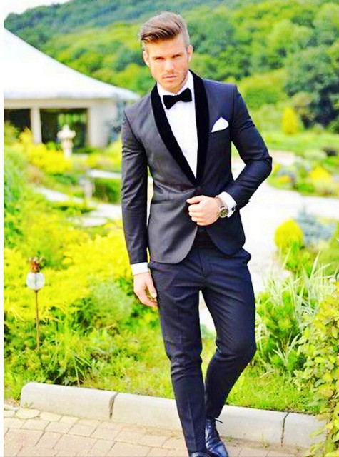 2015business Men Suits slim fit wedding men dress One Button ...