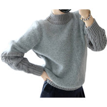 Autumn Winter Pullover Retro Twist Sleeve Wild Bottoming Sweater Women Half High Neck Hedging Pull Female Thick Vestidos LXJ095(China)