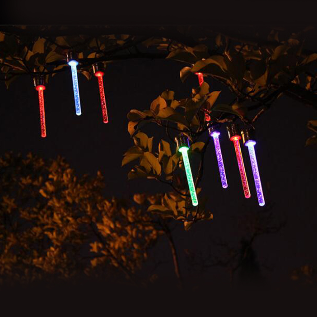 Outdoor Garden Solar Hanging Tree Lights Tube Shaped Lamps Assorted Colours Outdoor Landscape Lighting     - title=