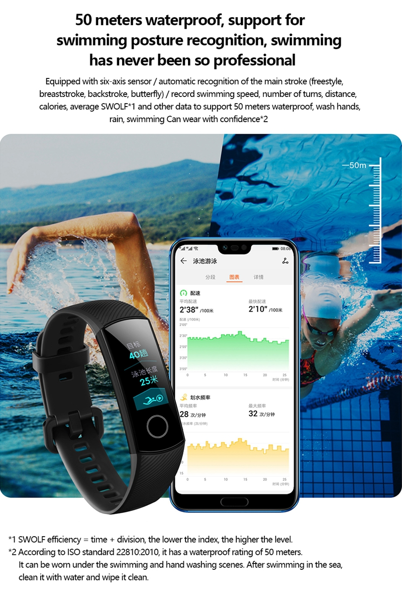 "Original Huawei Honor Band 4 Smart Bracelet 0.95"" OLED Touch Screen Waterproof Fitness Tracker bracelet Heart Rate Sleep Monitor 7"