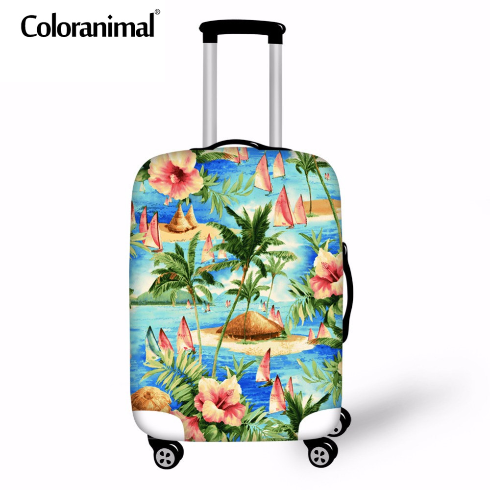 Coloranimal Luggage Cover Suitcase Protect Case Cover 3D Tropical Plant Print Women Travel Accessories Zipper 18-30Inch Dust Bag