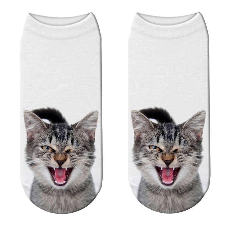 Harajuku 3D Kaus Kaki Wanita Kawaii Lucu Kucing Cetak Pendek Kaus Kaki Wanita Hewan Lucu Rendah Memotong Pergelangan Kaki Kaus Kaki Bahagia Calcetines 5ZJQ-ZWS20