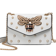 ALIEME Women Brand Desinger Rhinestones Bee PU Leather Shoulder Bag Small Crossbody Bag with Chain For