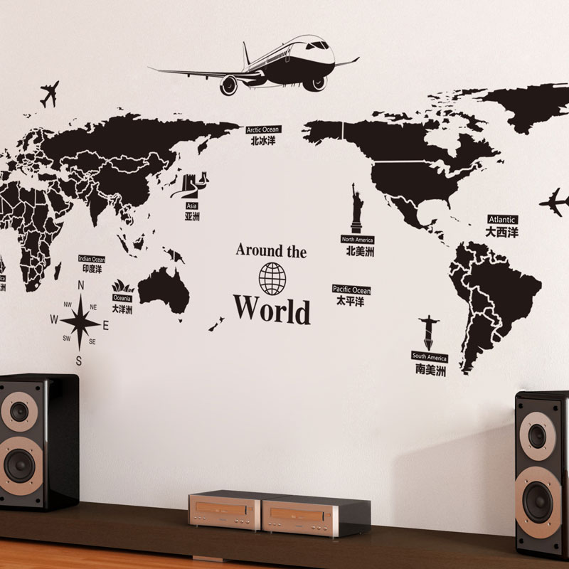 Large Size Pvc Self Adhesive Wall Stickers Creative Global Travel