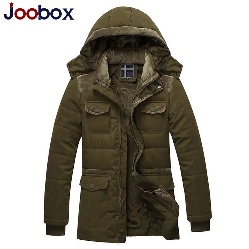 ФОТО JOOBOX 2017 Brand New Winter Coats Men Long Parkas Thick Vintage Jacket Clothing Hooded outerwear overcoat (PW608)