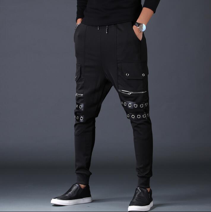 e561ee1a4 Hombres Pantalon Pantalones De Harem Grande Casuales Negro Pies  Personalidad Moda Hombre Bolsillo Carga PqaZ18wx