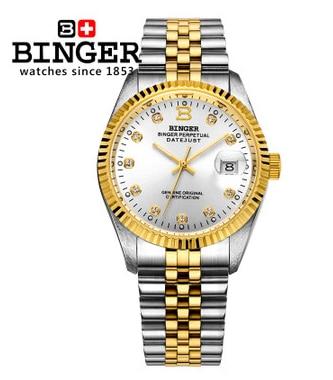 Charm Quality Skeleton Binger Automatic Mechanical Watch Gold Indicator Male Wrist Watches CZ Diamond Christmas Gift