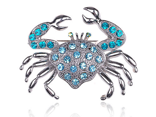 Aqua Light Blue Crystal Rhinestone Crab Critter Collection Fashion Brooch Pin [Fashion Jewelry]