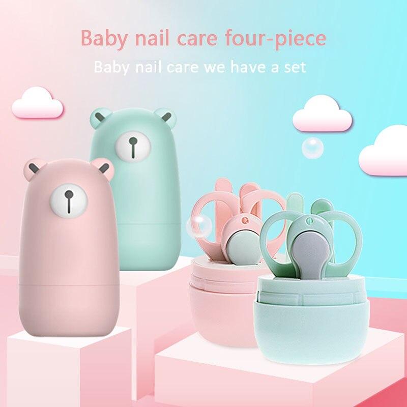 Кусачки для ногтей, детский маникюрный набор, чистый цвет, медведь, 4 шт., медведи, пальчики, ванна, милые маникюрные кусачки для ногтей, пальцы рук и ног, ножницы, красота