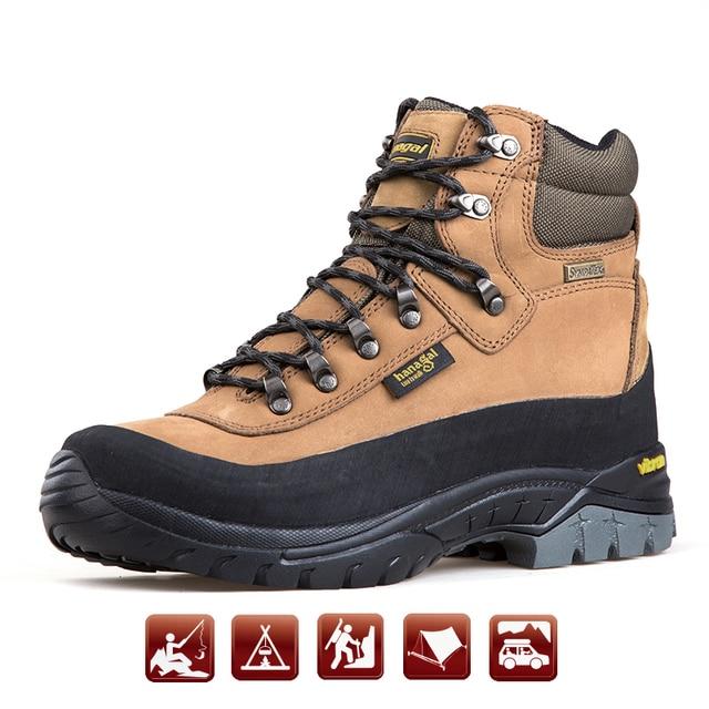 2019 Outdoor Men Hiking Shoes Fully waterproof Shoes Vib ram Anti-Slip Trekking Shoes women Genuine Leather Sports Walking