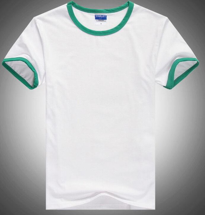 Final fonts Simple White Men Shirts with Green Sleeve Wide Brand YSMILE Y 100% Cotton U Collar Ora#15 Quality Fasion 2018