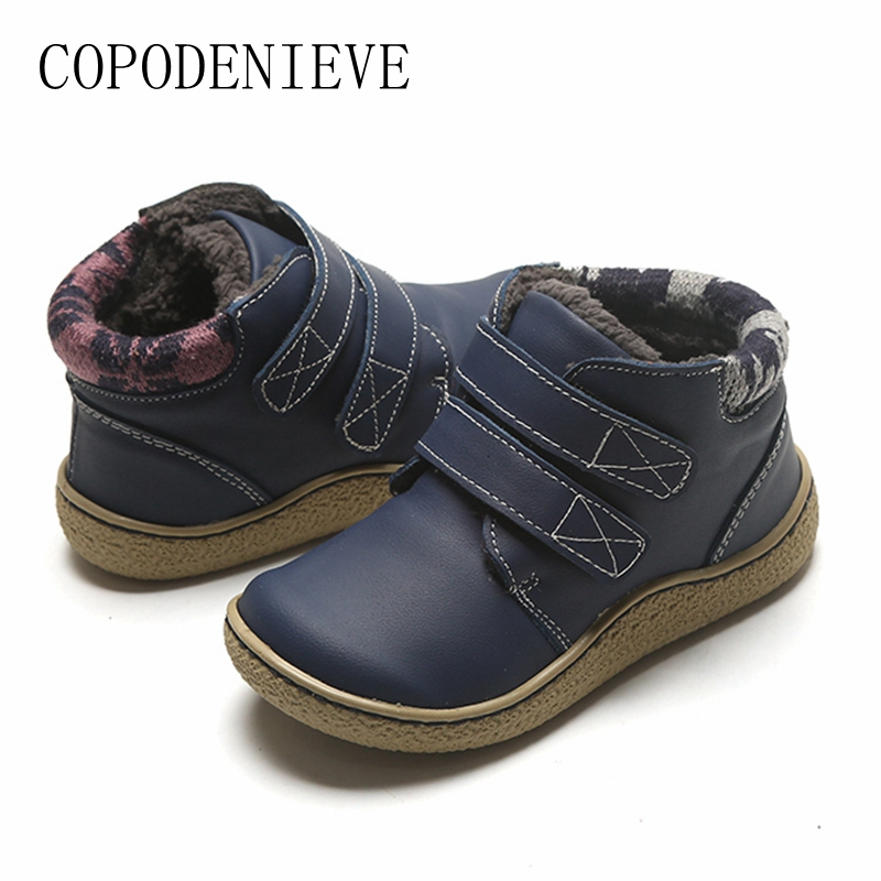 COPODENIEVE Children's Boots, Children's Shoes, Leather Children's Boots, Thickening And Warmth Preservation In Winter