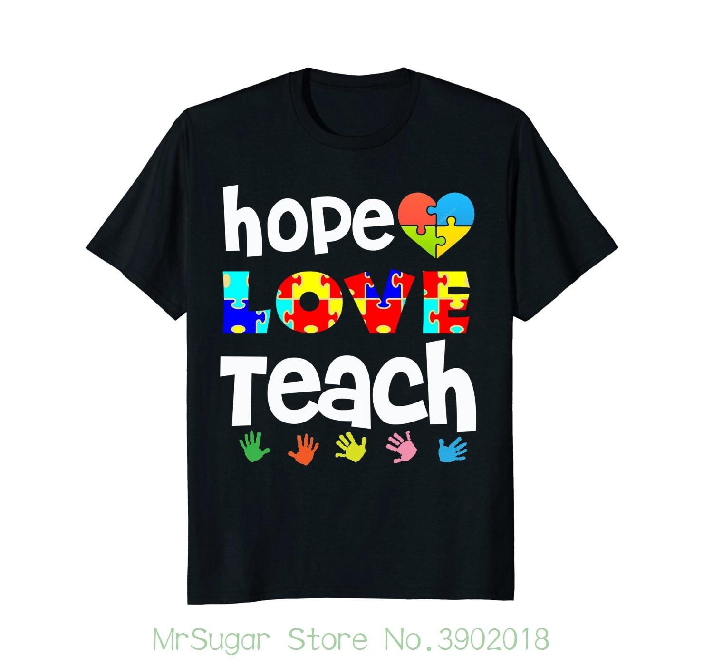 Teacher Autism Shirts Hope Love Teach Puzzle Gift Tees Male Pre-cotton Clothing 100% Cotton
