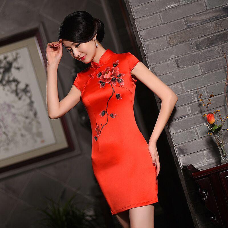Red Mini Style Women's Satin Cheongsam Hot Sale Traditional China Qipao Vestido Elegant Slim Dress Size S M L XL XXL 1457285