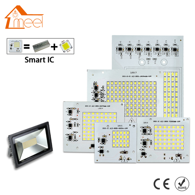 SMD LED Lamps Chip 220V Smart IC 10W 20W 30W 50W 90W LED Chip Bulb For Outdoor FloodLight Cold/Warm White