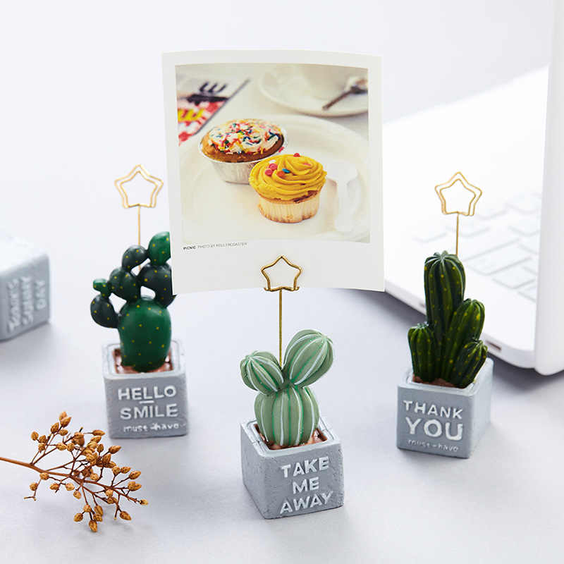 Cute Cat Cactus Shape Resin Plant Photo Clip Creative Desktop Memo Name Card Pendant Holder Furnishing Articles Picture Frame