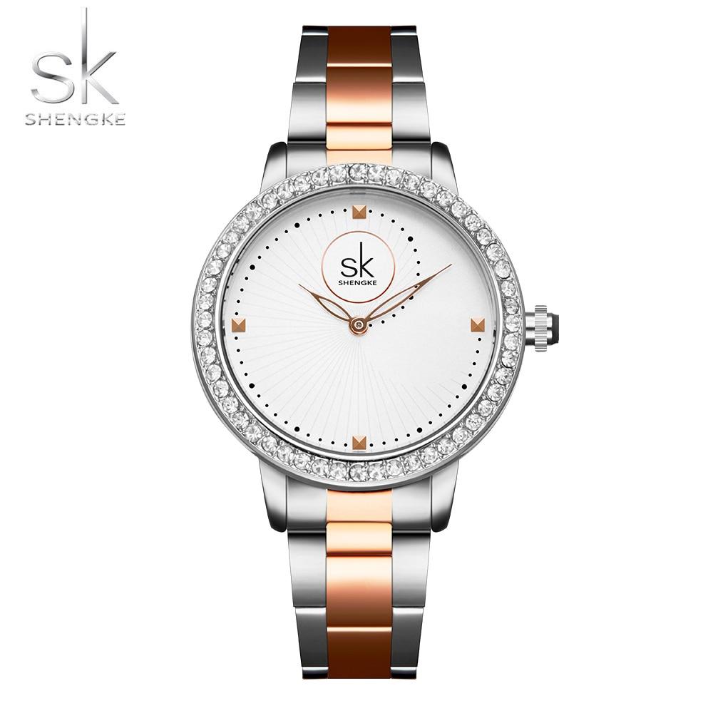 Shengke Rose Gold Watch Women Quartz Watches Ladies Top Brand Crystal Luxury Female Wrist Watch Girl Clock Relogio Feminino 7