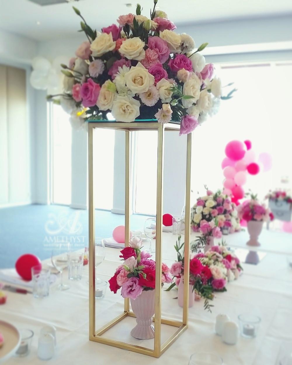 80cm Tall Wedding Flower Vase Metal Trumpet Vase For: 80cm Tall Flower Vase Gold Column Stand Metal Road Lead