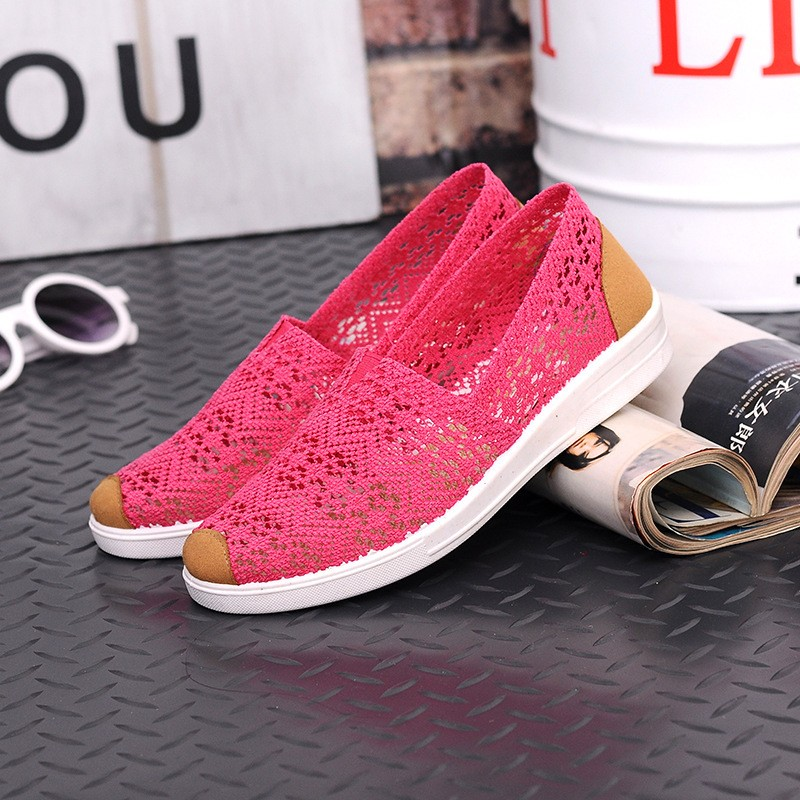 Free Shipping Women Casual Shoes Spring Summer Hollow Lace Flat Shoes Breathable Soft Women Shoes HSE12 (10)