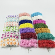 ФОТО 144pcs 2cm mini foam rose artificial flower bouquet multicolor rose wedding flower decoration scrapbooking fake rose flower