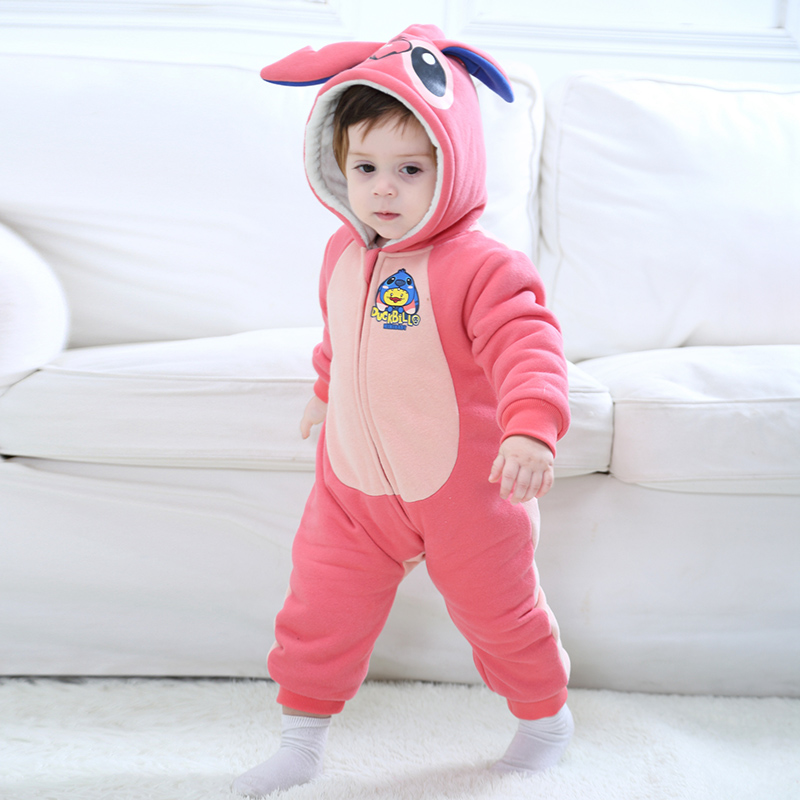 Winter Baby Animal Blue Interstellar Costume Toddler Romper Infant pajamas Hooded Flannel Blue Stitch Jumpsuit Clothes Romper puseky 2017 infant romper baby boys girls jumpsuit newborn bebe clothing hooded toddler baby clothes cute panda romper costumes