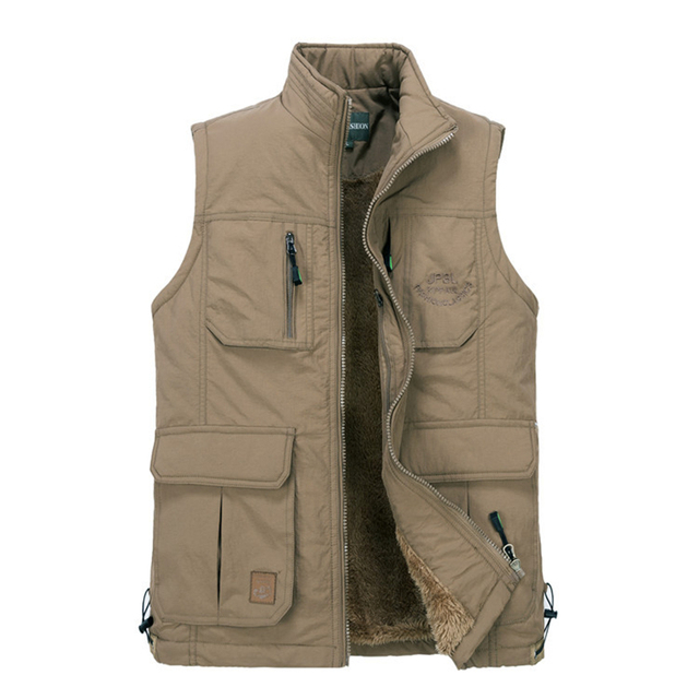 High quality Autumn Winter Coats Leisure Vests Mens Thick Vests Man Vest Warm Plus velvet Male Coats Outerwear Outer Plus size
