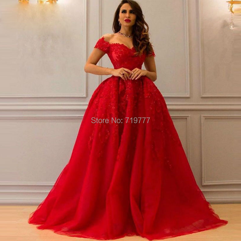 Red puffy prom dress formal long evening gowns 2017 custom for Red wedding dresses cheap