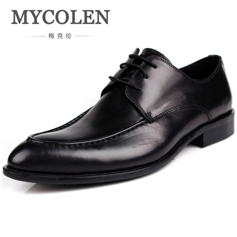 MYCOLEN Formal Mens Dress Shoes Genuine Leather Brown Black Pointed Toe Wedding Italian Fashion Male Shoes Sapatos De Casamento mycolen mens genuine leather shoes dress italian leather male shoes elevator glitter black brown business shoes four seasons