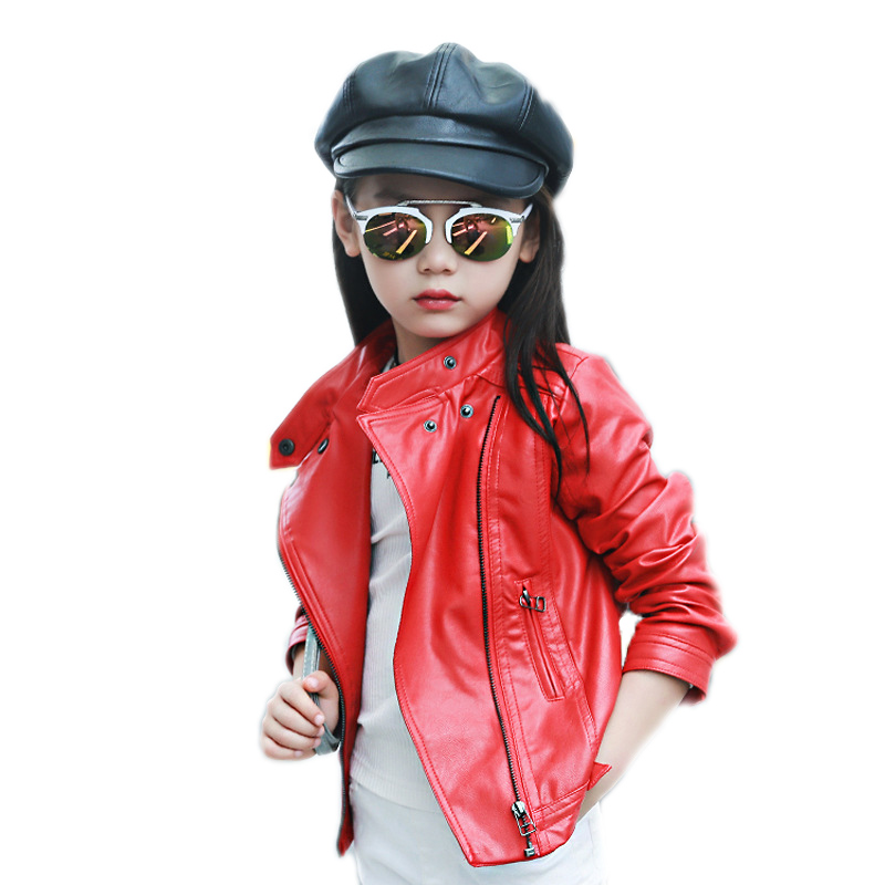 girls jacket spring 2018 new girls solid turn down collar coats and jackets kids pu leather short jackets children outwear 4-11T