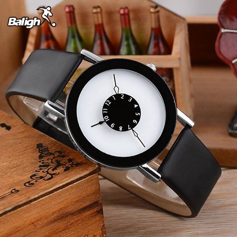 Leather Strap Watch Elegant Quartz Wristwatch Men Women Clock Black & White Brief Unisex Watches Analog Male Relojes