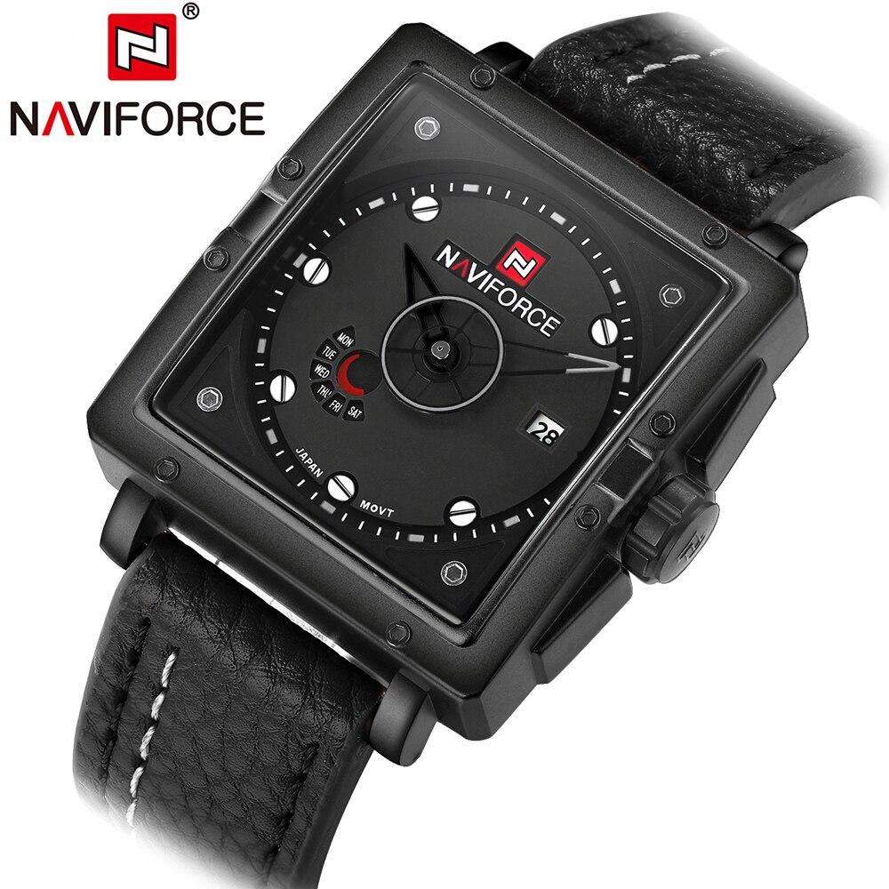 3c5c47e5a07 2018 moda casual marca naviforce hombres reloj cuarzo-reloj relojes hombres  cuero Militar reloj Relogio Masculino