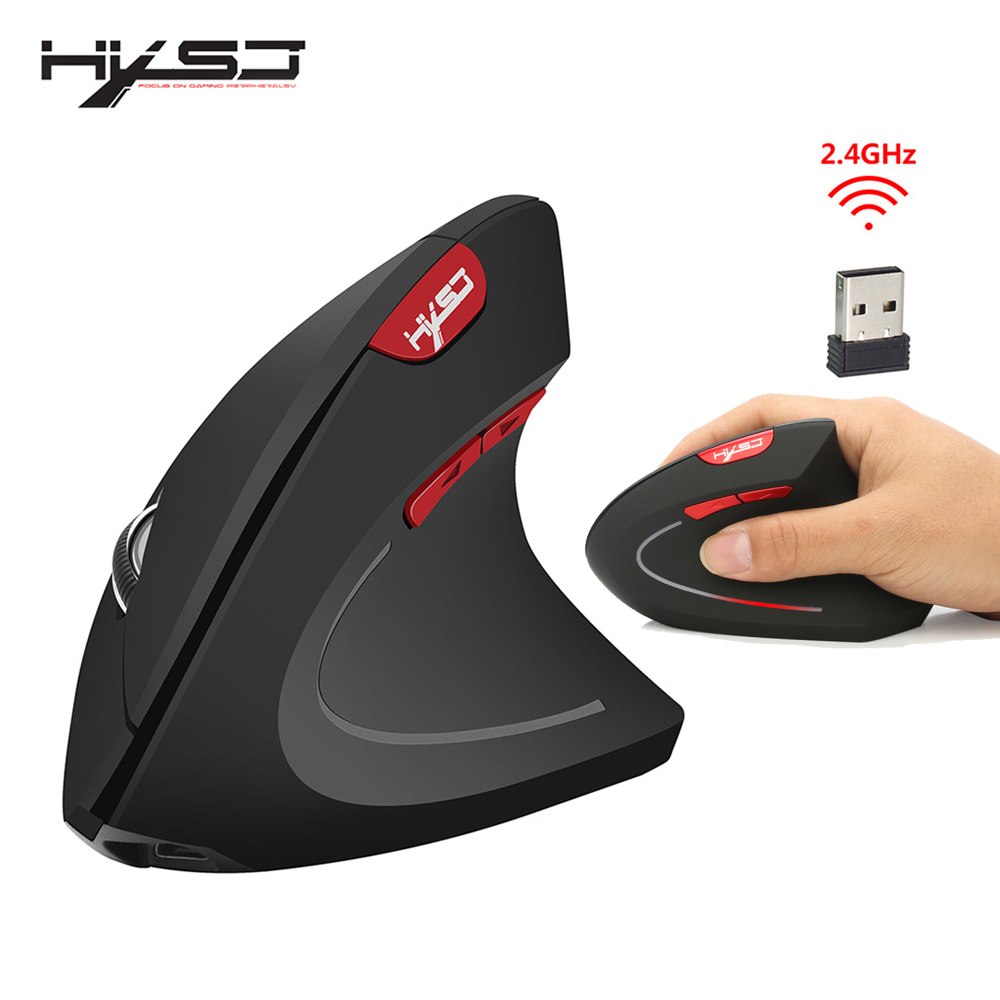 HXSJ new vertical wireless mouse 2.4G ergonomic wireless mouse 2400DPI adjustable for PC notebook USB2.0 black gray-in Mice from Computer & Office