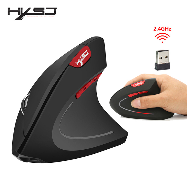 HXSJ new vertical wireless mouse 2.4G ergonomic wireless mouse 2400DPI adjustable for PC notebook USB2.0 black gray