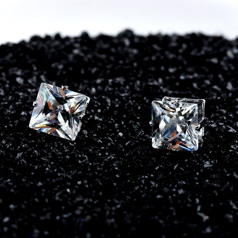 No Piercing 4/5/6/7/8mm Square Zircon Magnetic Stud Earings For Women Men Kids No Hole Crystal Ear Studs Jewelry Magnet Earring