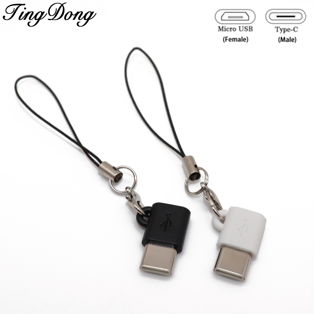 TingDong USB 3.1 Type C Male To Micro USB Female OTG Adapter Type-C Converter Connector USB-C Black And White For Xiaomi 8