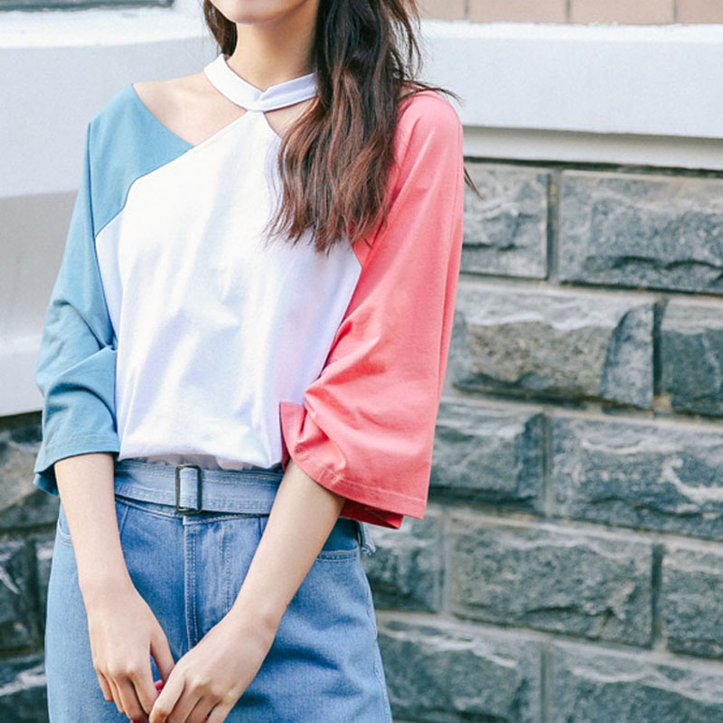 Hot sale New Summer Chic Women Halter T Shirt Loose Half Sleeve hit Color Patchwork Tees Tops Casual Off Shoulder tshirt cute