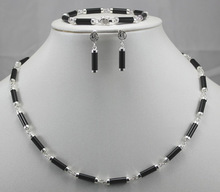 natural black gem new Sterling Earring Bracelet Necklace sets S 07 Quartz Fine 925 Silver Bridal wide watch wings women queen