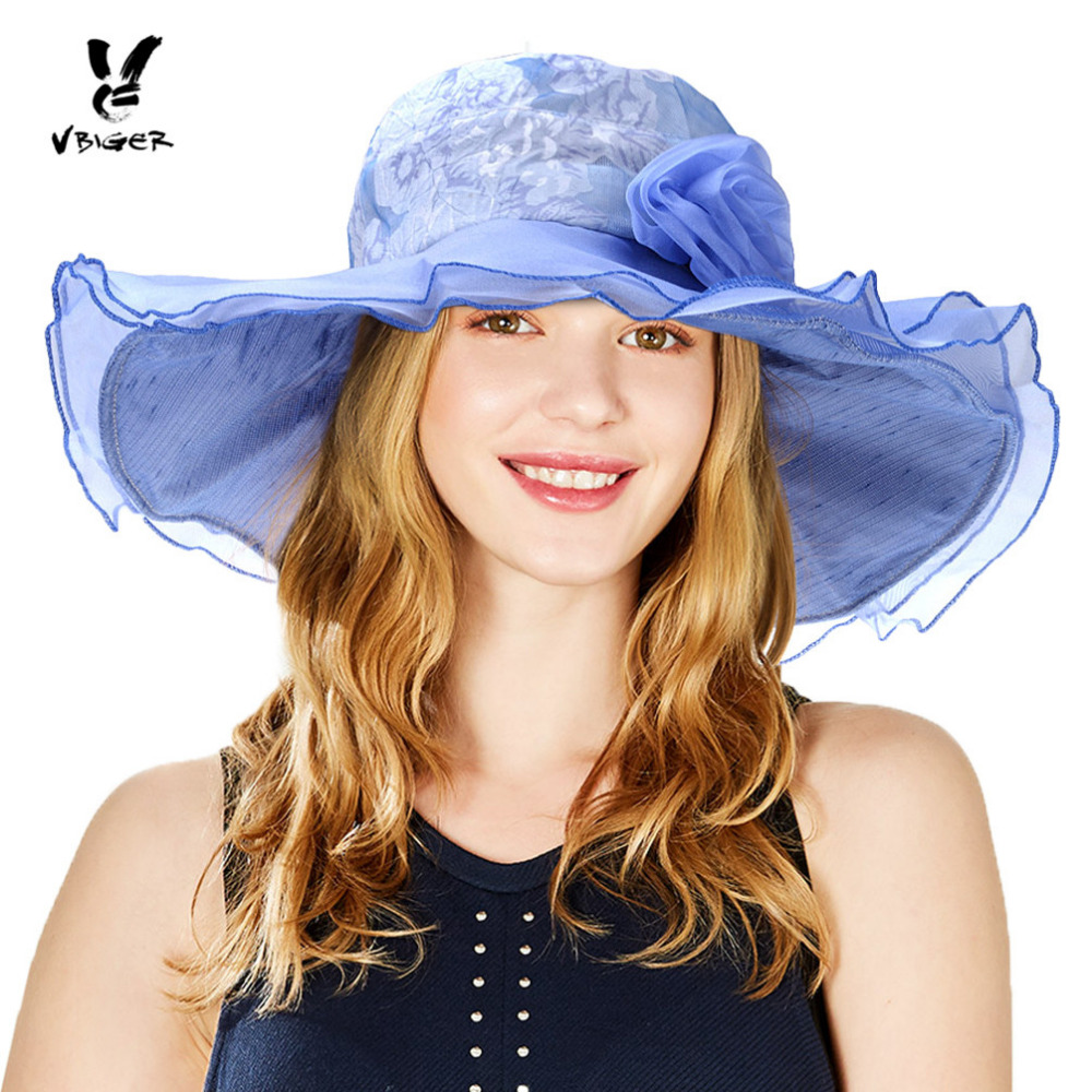 Conscientious Vbiger Women Summer Sun Hat Sunproof Large-brim Fashionable Beach Cap Hat With Lace Flowers Complete In Specifications