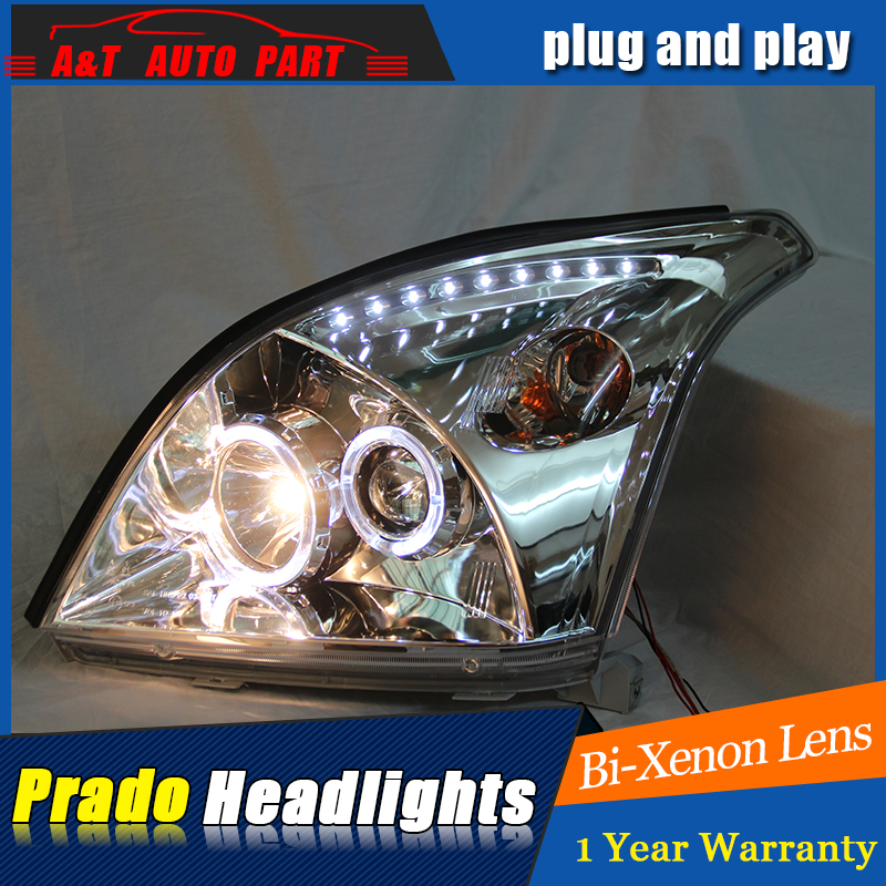 LED Head Lamp for Toyota Prado led headlights 2003-2009 for Prado head light H7 hid Bi-Xenon Lens angel eye low beam led