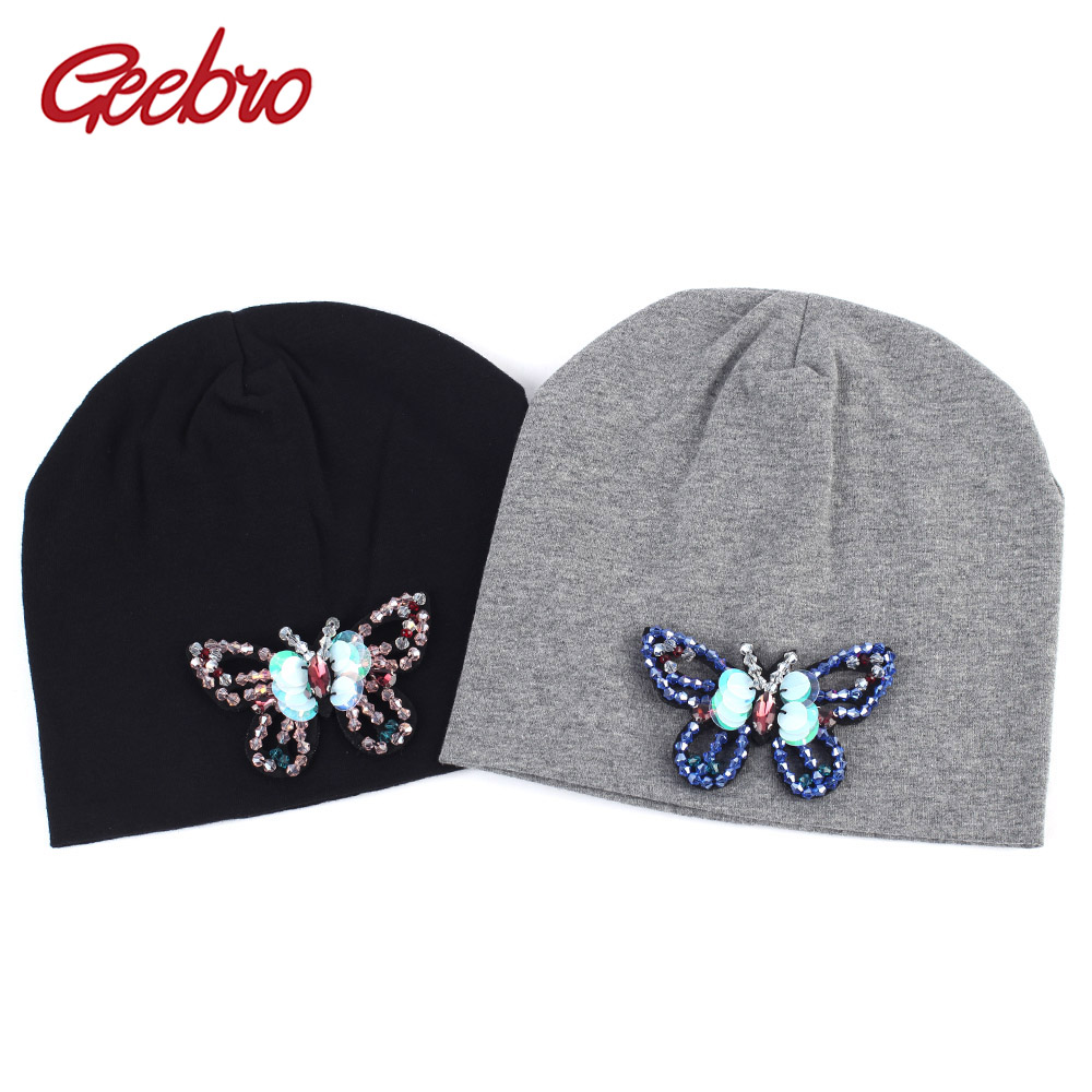 Geebro Newborn Cotton   Beanie   Hat Spring Rhinestone Butterfly Slouchy   Beanies   with Applique Girls DIY   Skullies  &  Beanies   for Kids