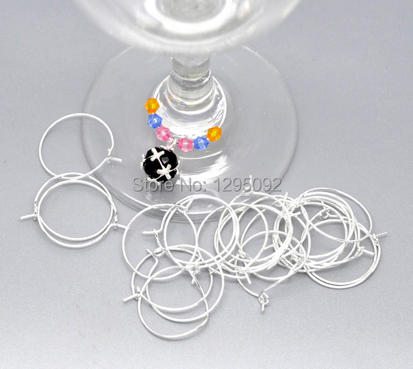 200Pcs Silver Plated Alloy Wine Glass Charm Rings / Earrings Hoops Jewelry Making Charms Findings Component Wholesales 25x20mm