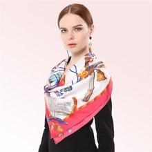 Fashion Printing Silk Scarf Female Large Size 90 * 90cm Square SILK Scarves Women 100% Real White-Collar Shawl Wraps HA828